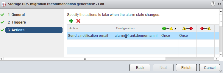 Storage DRS new recommendation alarm email notification configuration