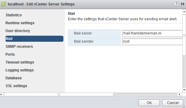 Configure a mail server in vCenter general settings