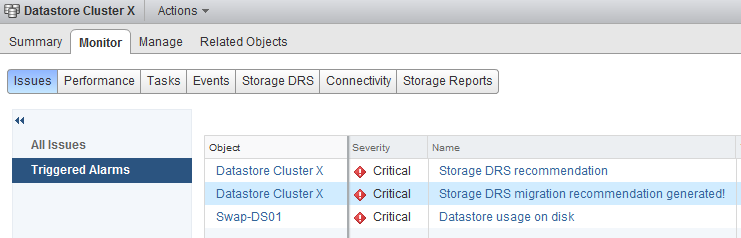 vCenter shows the following triggered alerts on the Storage DRS datastore cluster