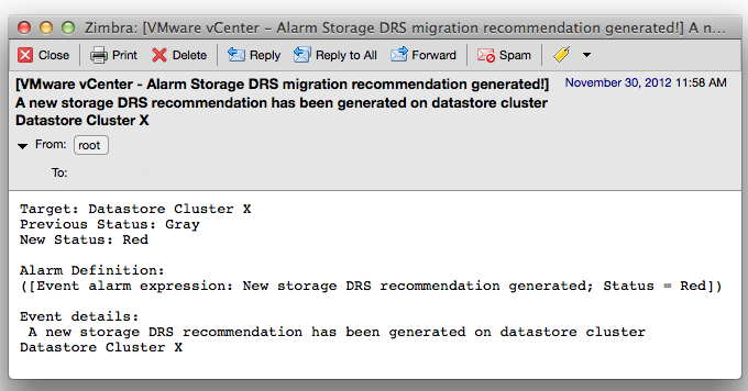 email message generated by vCenter Storage DRS new recommendation alarm